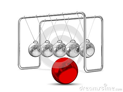 Balancing balls on white background