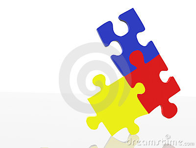Balancing puzzle pieces - primary colours