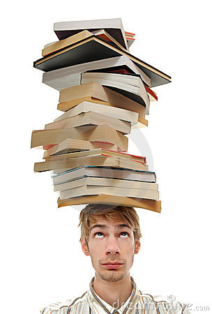 Free Balancing Stack Of Books On Head Royalty Free Stock Image - 16403426