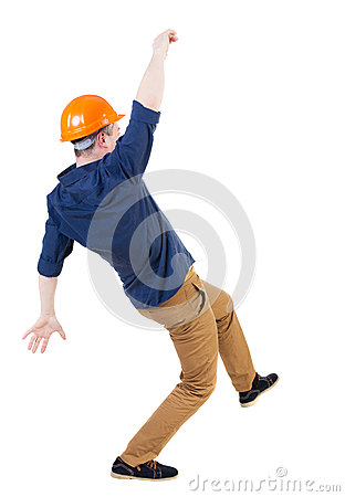Free Balancing Young Man.  Or Dodge Falling Man/ Worker In Constructi Royalty Free Stock Photography - 53722907