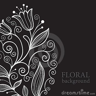 Balck floral background