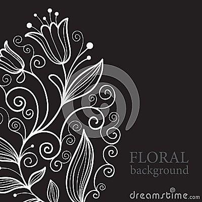 Balck floral background