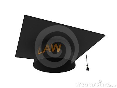 Balck lawyer s hat with golden word LAW.