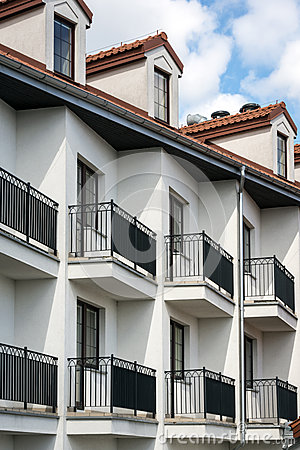 Balconies in multi family house exterior