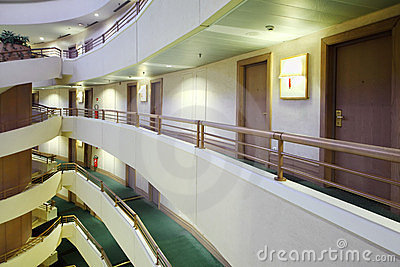 Balconies and staircase in Iris Congress hotel Editorial Stock Photo