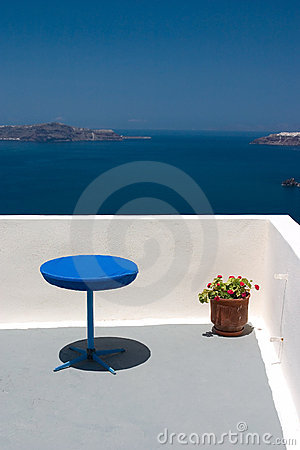 Balcony with blue table and re