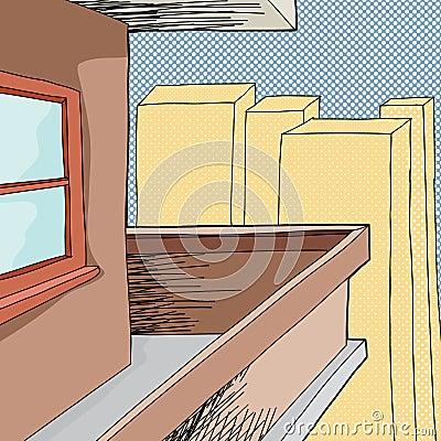 Balcony in city stock vector image 45389947 for Balcony cartoon