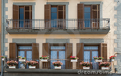 Balcony decorated with flowers