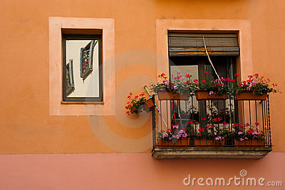 Balcony and flowers in Girona Spain