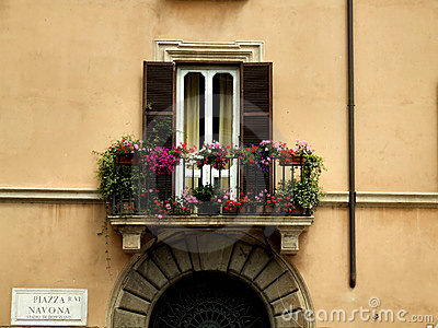 Balcony and a gate in Rome