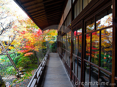 Balcony and beautiful garden in kyoto, Japan