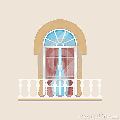 Free Balcony With Stone Balusters And Arched Window Vector Illustration Stock Photos - 110066463