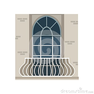Free Balcony With Wrought Iron Railing And Arched Window Vector Illustration On A White Background Stock Images - 110066814