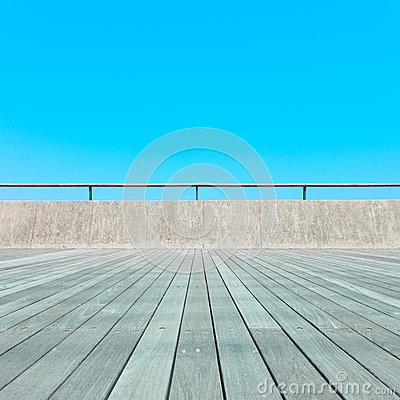Balcony, Wood floor, concrete, blue sky