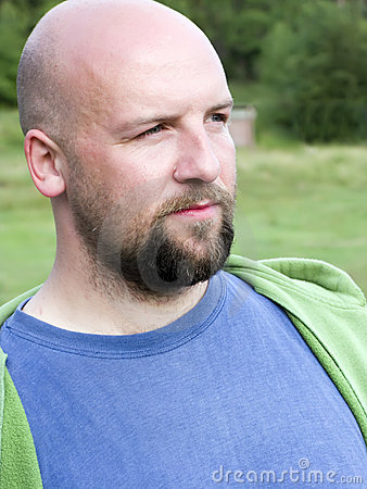 Bald bearded man portrait