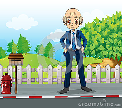 A bald business icon standing at the road near the wooden mailbo