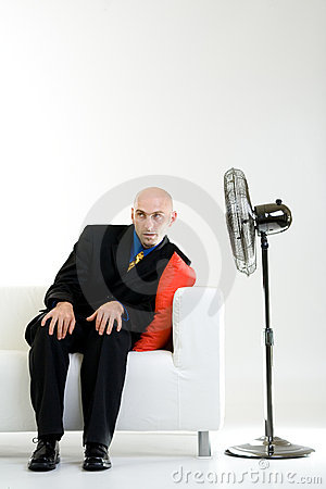 Free Bald Businessman With Fan Stock Images - 2984904