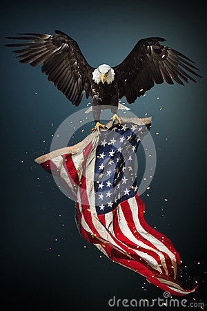 Free Bald Eagle Flying With American Flag Royalty Free Stock Images - 99155869