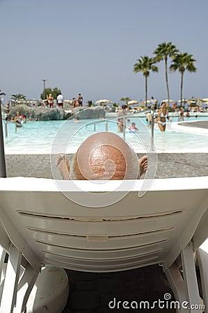 Bald headed man on vacation
