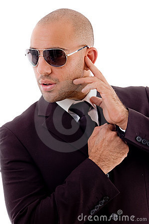 Bald male in listening pose