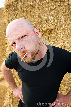 Bald man with attitude