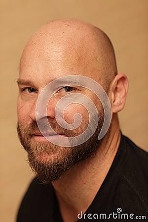 Bald man with a beard