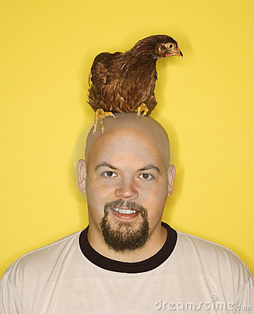 Bald man with chicken on head