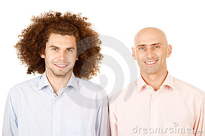 Bald man, curly hair man
