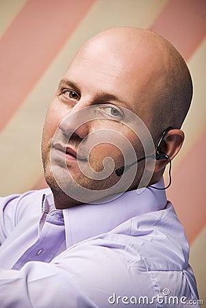 Bald man customer service