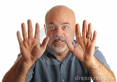 Bald man gesturing to stop