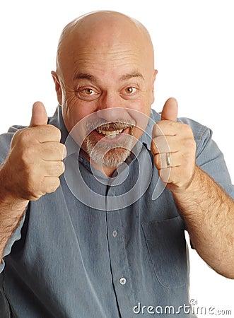Bald man giving thumbs up