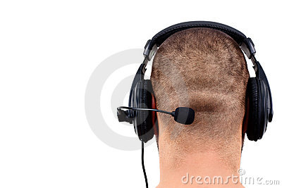 Bald man with headphones