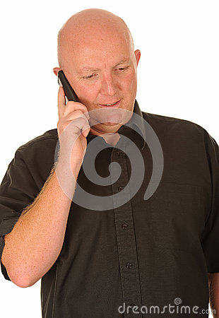 Bald Man with Mobile Phone