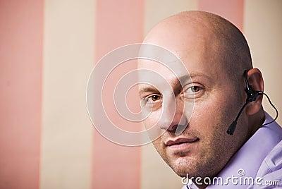 Bald man operator support