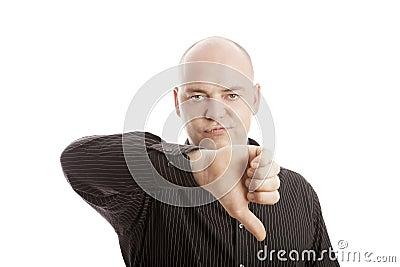 Bald man with shirt thumb down