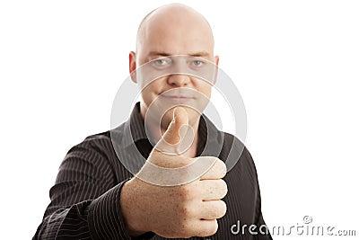 Bald man in shirt thumb up