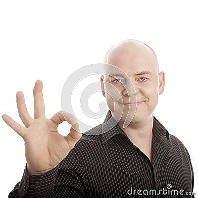 Bald man sign perfect smiling