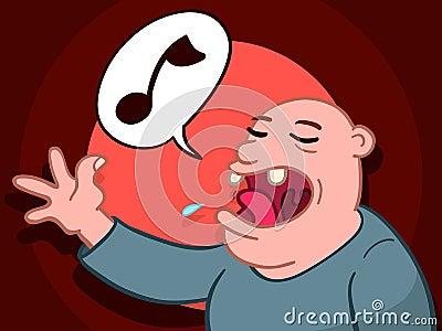 Bald man singing a song