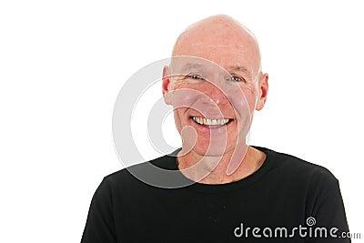 Bald man in studio