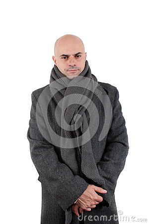 Bald man in tweed coat and scarf