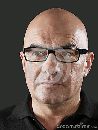 Bald Man Wearing Glasses Stock Images Image 33912284