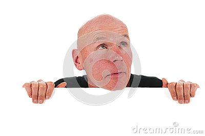 Bald man with white board
