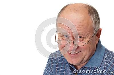 Bald senior man laughing
