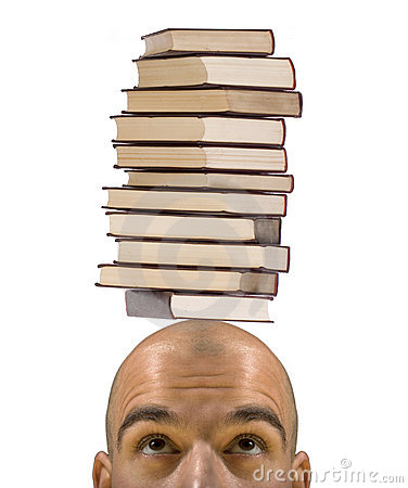 Bald student learning trouble