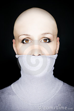 Bald woman turtleneck