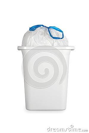 Balde Do Lixo Branco Com O Saco De Lixo Plástico