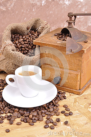 Bale of coffee beans with jalopy
