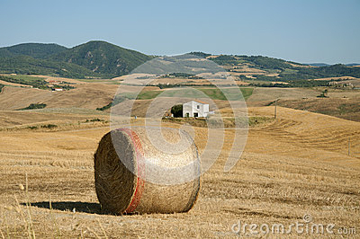 A bale of hay in the Tuscan countryside