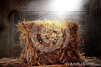 Bale of Straw Hay in Old Dusty Farm or Ranch Barn