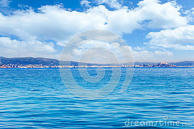 Balearic Ibiza island general view from open sea